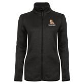 Black Heather Ladies Fleece Jacket-PVAM Stacked