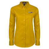 Ladies Gold Twill Button Down Long Sleeve-PVAMU