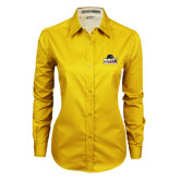 Ladies Gold Twill Button Down Long Sleeve-Athletic Directors Club