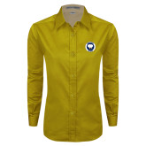 Ladies Gold Twill Button Down Long Sleeve-Marching Storm Cloud Circle