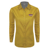 Ladies Gold Twill Button Down Long Sleeve-MSD Alumni