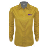 Ladies Gold Twill Button Down Long Sleeve-MSD