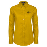 Ladies Gold Twill Button Down Long Sleeve-Black Fox Alumni