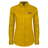 Ladies Gold Twill Button Down Long Sleeve-PVAMU Black Fox Script