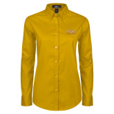 Ladies Gold Twill Button Down Long Sleeve-Twirling Thunder PVAMU Stacked
