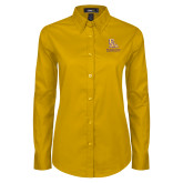 Ladies Gold Twill Button Down Long Sleeve-PVAM Stacked