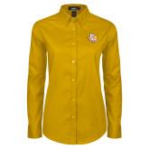 Ladies Gold Twill Button Down Long Sleeve-PVAM Texas
