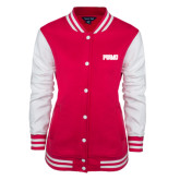 Ladies Pink Raspberry/White Fleece Letterman Jacket-PVAMU