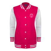 Ladies Pink Raspberry/White Fleece Letterman Jacket-Marching Storm Cloud Circle