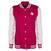 Ladies Pink Raspberry/White Fleece Letterman Jacket-PVAM Texas