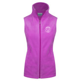 Columbia Ladies Full Zip Lilac Fleece Vest-Marching Storm Cloud Circle