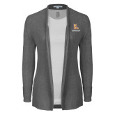 Ladies Heather Grey Open Front Cardigan-PVAM Stacked