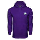 Under Armour Purple Performance Sweats Team Hoodie-Marching Storm Cloud Circle