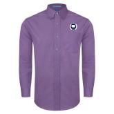 Mens Deep Purple Crosshatch Poplin Long Sleeve Shirt-Marching Storm Cloud Circle