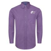 Mens Deep Purple Crosshatch Poplin Long Sleeve Shirt-Black Fox Logo