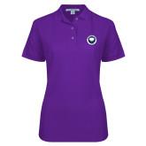 Ladies Easycare Purple Pique Polo-Marching Storm Cloud Circle - Fan