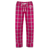 Ladies Dark Fuchsia/White Flannel Pajama Pant-Marching Storm Cloud Circle