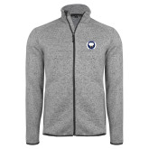 Grey Heather Fleece Jacket-Marching Storm Cloud Circle