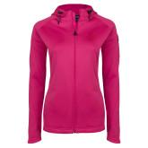 Ladies Tech Fleece Full Zip Hot Pink Hooded Jacket-PVAM Texas