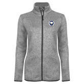 Grey Heather Ladies Fleece Jacket-Marching Storm Cloud Circle