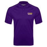 Purple Textured Saddle Shoulder Polo-PVAMU Twirling Thunder Script