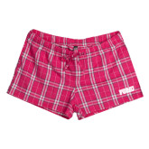 Ladies Dark Fuchsia/White Juniors Flannel Plaid Boxer-PVAMU