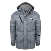 Grey Brushstroke Print Insulated Jacket-Marching Storm Cloud Circle