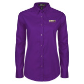Ladies Purple Twill Button Down Long Sleeve-PVAMU