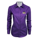 Ladies Purple Twill Button Down Long Sleeve-Athletic Directors Club