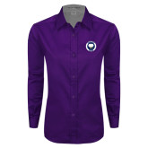 Ladies Purple Twill Button Down Long Sleeve-Marching Storm Cloud Circle