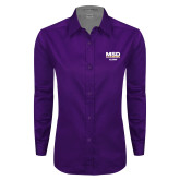 Ladies Purple Twill Button Down Long Sleeve-MSD Alumni
