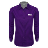 Ladies Purple Twill Button Down Long Sleeve-MSD