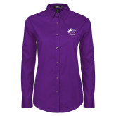 Ladies Purple Twill Button Down Long Sleeve-Black Fox Alumni
