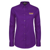Ladies Purple Twill Button Down Long Sleeve-PVAMU Twirling Thunder Script