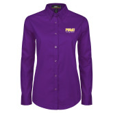 Ladies Purple Twill Button Down Long Sleeve-Twirling Thunder PVAMU Stacked