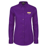 Ladies Purple Twill Button Down Long Sleeve-Twirling Thunder PVAMU Stacked - Alumni