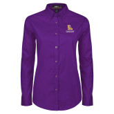 Ladies Purple Twill Button Down Long Sleeve-PVAM Stacked