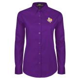 Ladies Purple Twill Button Down Long Sleeve-PVAM Texas