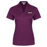Ladies Purple Performance Fine Jacquard Polo-Official Logo