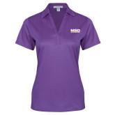 Ladies Purple Performance Fine Jacquard Polo-MSD