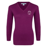 Ladies Deep Berry V Neck Sweater-Marching Storm Cloud Circle