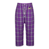 Ladies Purple/White Flannel Pajama Pant-Official Logo