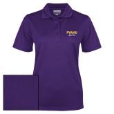 Ladies Purple Dry Mesh Polo-PVAMU Black Fox Script
