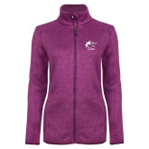 Dark Pink Heather Ladies Fleece Jacket-Black Fox Alumni