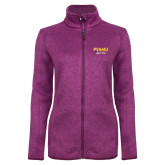 Dark Pink Heather Ladies Fleece Jacket-PVAMU Black Fox Script