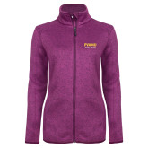 Dark Pink Heather Ladies Fleece Jacket-PVAMU Twirling Thunder Script