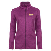Dark Pink Heather Ladies Fleece Jacket-Twirling Thunder PVAMU Stacked