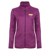 Dark Pink Heather Ladies Fleece Jacket-Twirling Thunder PVAMU Stacked - Alumni