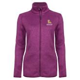 Dark Pink Heather Ladies Fleece Jacket-PVAM Stacked