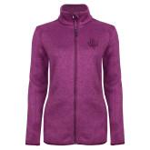 Dark Pink Heather Ladies Fleece Jacket-PVAM Texas